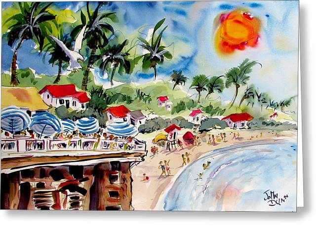 Clemente Paintings Greeting Cards - San Clemente Pier View Greeting Card by John Dunn