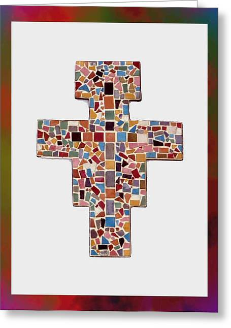 Religious Mosaic Mixed Media Greeting Cards - San Damiano Mosaic Cross  Greeting Card by Edward Joseph Anthony