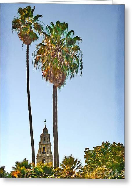 Colonial Man Digital Greeting Cards - San Diego - California Building Bell Tower Greeting Card by Gabriele Pomykaj