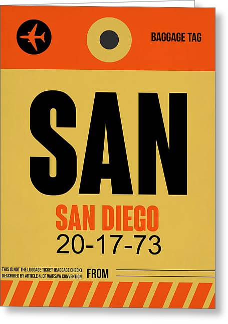 Tourists Greeting Cards - San Diego Airport Poster 1 Greeting Card by Naxart Studio