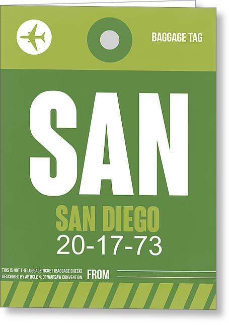 Tourists Digital Art Greeting Cards - San Diego Airport Poster 2 Greeting Card by Naxart Studio