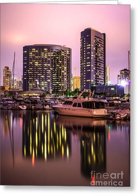 Western Usa Greeting Cards - San Diego at Night at Embarcadero Marina Greeting Card by Paul Velgos