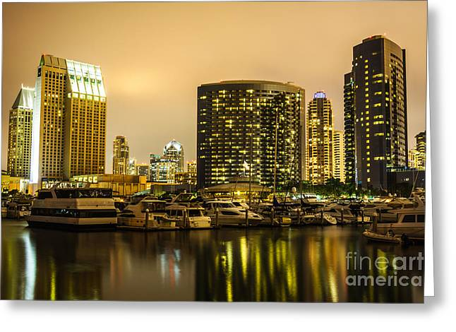 Sailboat Photos Greeting Cards - San Diego at Night with Luxury Yachts Greeting Card by Paul Velgos