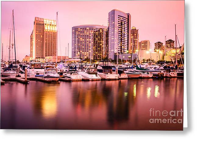 San Diego At Night With Skyline And Marina Greeting Card by Paul Velgos