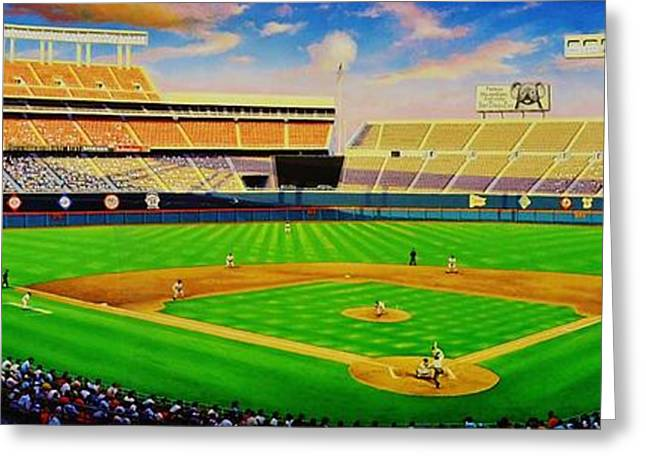 Baseball Murals Paintings Greeting Cards - San Diego Brilliance Greeting Card by Thomas  Kolendra
