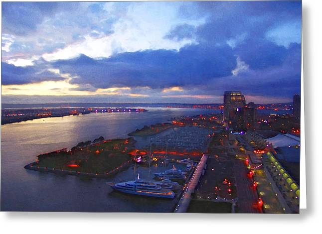 Convention Digital Art Greeting Cards - San Diego By Night Greeting Card by Glenn McCarthy Art and Photography