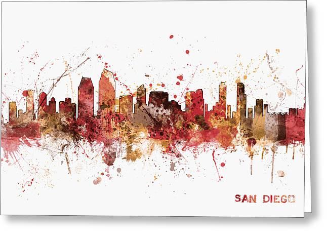 San Diego California Skyline Greeting Card by Michael Tompsett