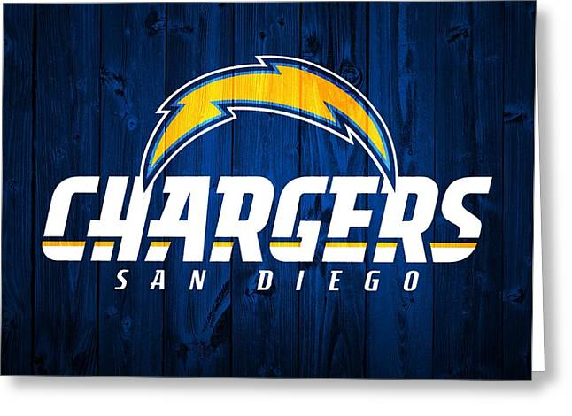 Offense Mixed Media Greeting Cards - San Diego Chargers Barn Door Greeting Card by Dan Sproul