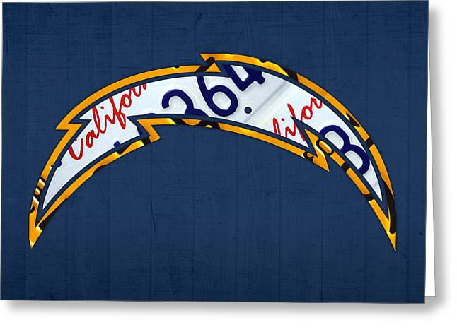 San Diego Chargers Football Team Retro Logo California License Plate Art Greeting Card by Design Turnpike