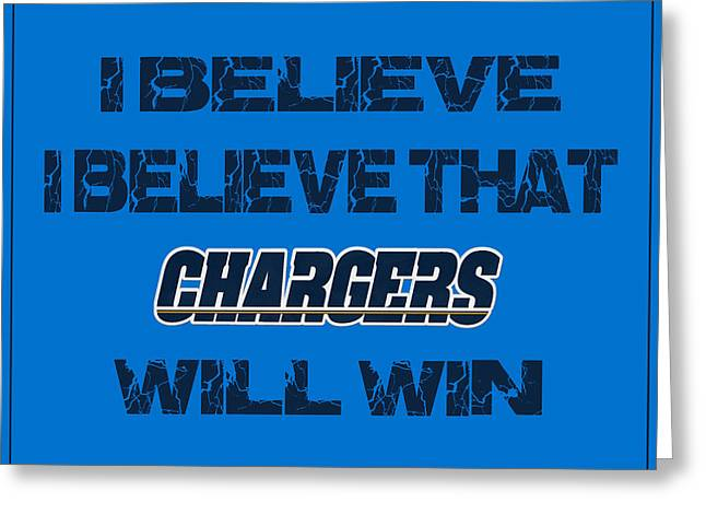 I-phone Case Greeting Cards - San Diego Chargers I Believe Greeting Card by Joe Hamilton