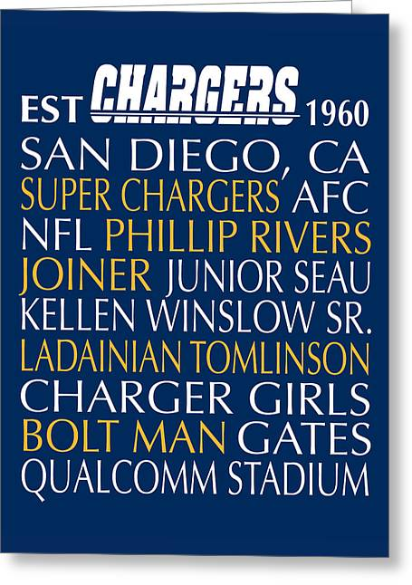 Football Words Greeting Cards - San Diego Chargers Greeting Card by Jaime Friedman