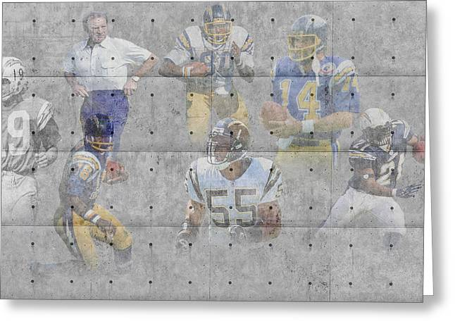 Chargers Greeting Cards - San Diego Chargers Legends Greeting Card by Joe Hamilton
