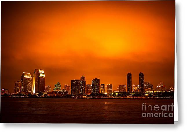 San Diego Cityscape at Night Greeting Card by Paul Velgos