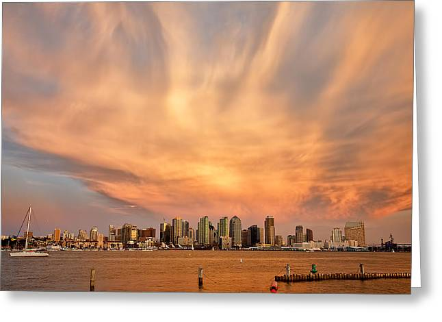 San Diego Cloud Burst Greeting Card by Peter Tellone