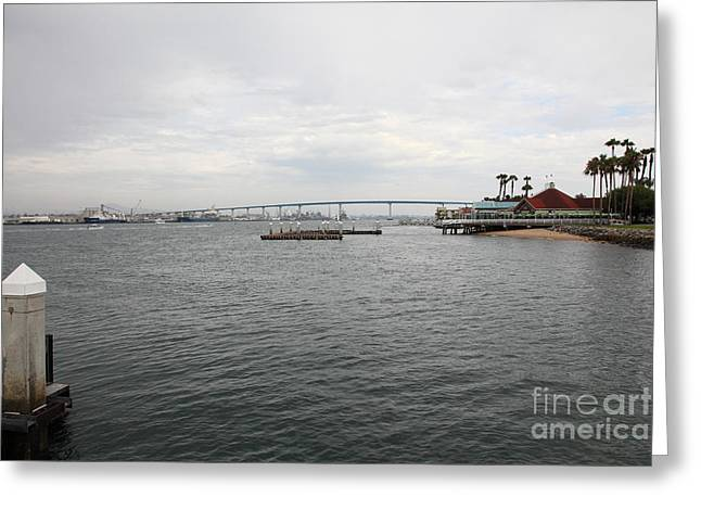 Coronado Harbor Greeting Cards - San Diego Coronado Bridge 5D24344 Greeting Card by Wingsdomain Art and Photography