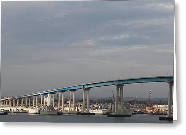 San Diego Harbor Greeting Cards - San Diego Coronado Bridge 5D24388 Greeting Card by Wingsdomain Art and Photography