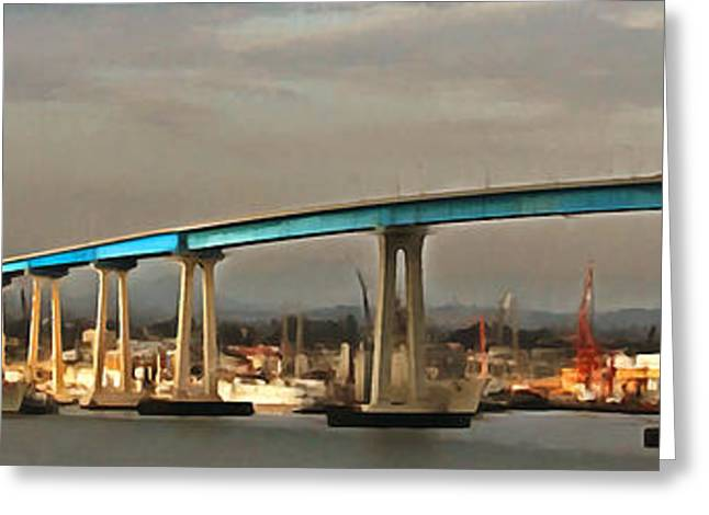 San Diego Harbor Greeting Cards - San Diego Coronado Bridge 5D24388painterly Greeting Card by Wingsdomain Art and Photography