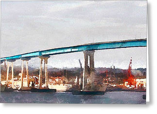 San Diego Harbor Greeting Cards - San Diego Coronado Bridge 5D24388wcstyle Greeting Card by Wingsdomain Art and Photography