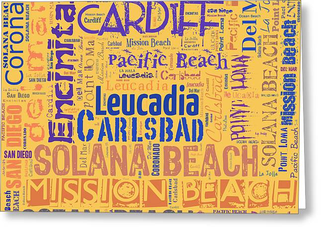 Surf City Greeting Cards - San Diego County Beach Cities Text Collage Greeting Card by David G Paul