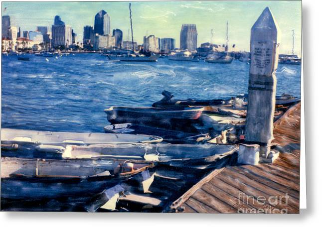 Docked Sailboats Mixed Media Greeting Cards - San Diego Docks Greeting Card by Glenn McNary