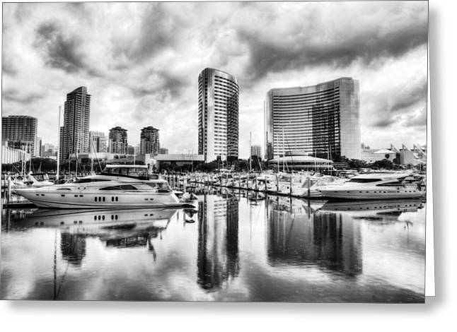 Sailboat Photos Greeting Cards - San Diego Dreams BW Greeting Card by Mel Steinhauer