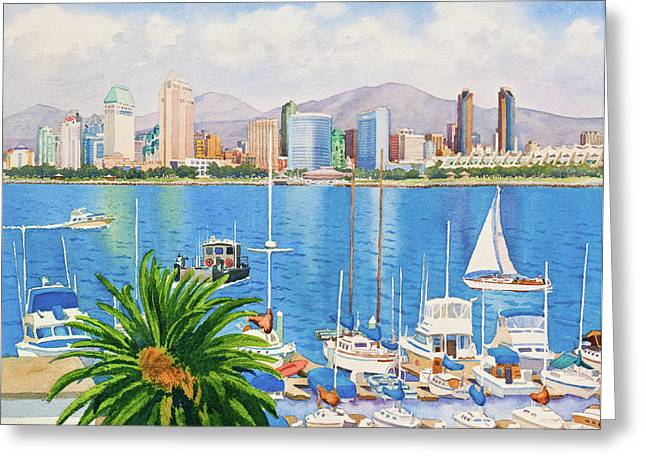 Skyline Paintings Greeting Cards - San Diego Fantasy Greeting Card by Mary Helmreich