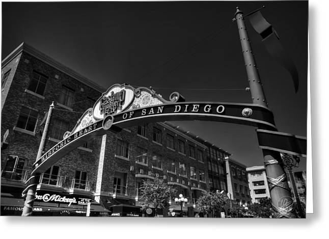 Signs Greeting Cards - San Diego - Gaslamp Quarter 001 BW Greeting Card by Lance Vaughn