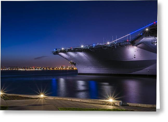 San Diego Harbor Greeting Cards - San Diego Harbor at Night Greeting Card by Joseph S Giacalone