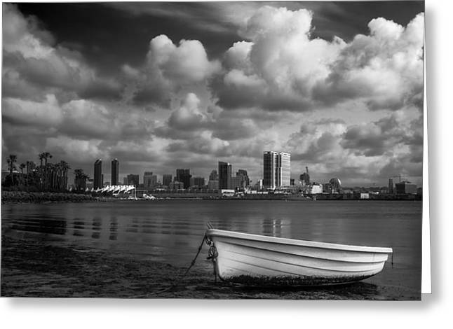 Dingy Greeting Cards - San Diego Harbor Greeting Card by Joseph Smith