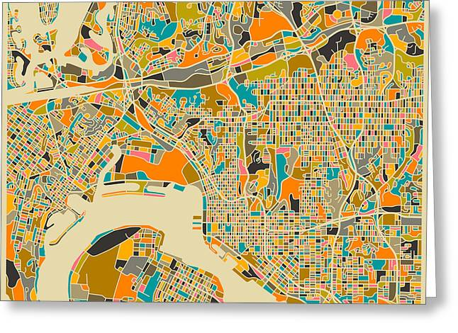 Streets Greeting Cards - San Diego Map Greeting Card by Jazzberry Blue