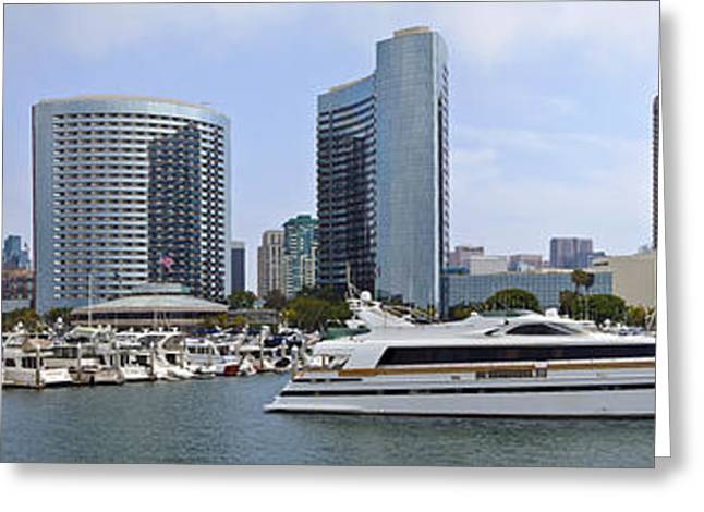 Convention Greeting Cards - San Diego marina and the downtown buildings panorama. Greeting Card by Gino Rigucci