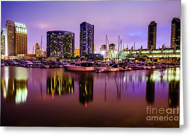 Sailboat Photos Greeting Cards - San Diego Marina at Night with Luxury Yachts Greeting Card by Paul Velgos