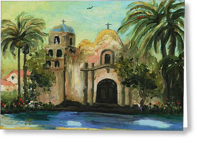 Religious Paintings Greeting Cards - San Diego Mission Church Greeting Card by Cecilia  Brendel