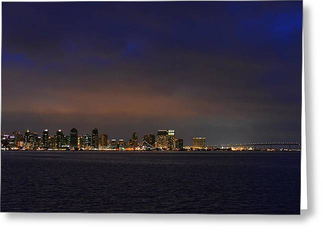 City Lights Greeting Cards - San Diego Night Sky Greeting Card by Christine Till