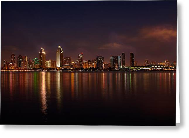Locations Greeting Cards - San Diego Night Skyline Greeting Card by Peter Tellone