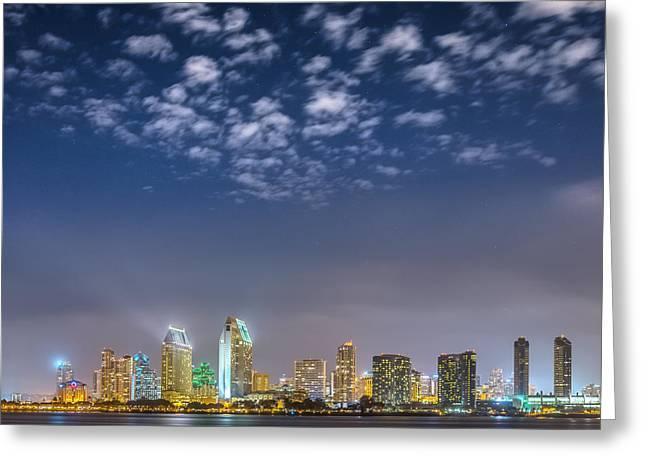 Coronado Harbor Greeting Cards - San Diego Night Skyline with Stars Greeting Card by Alexander Kunz