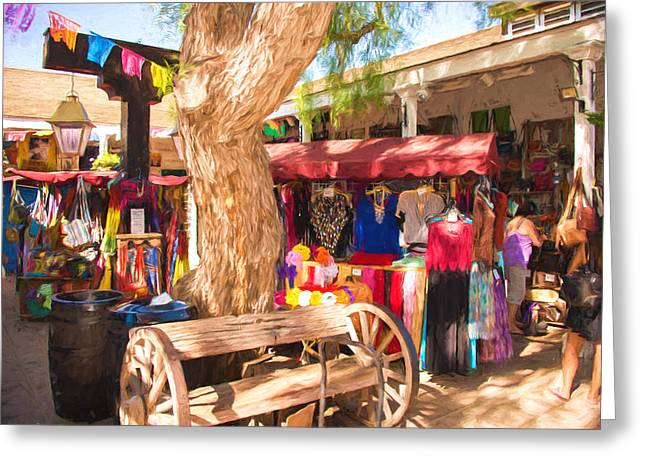 Impressionistic Market Greeting Cards - San Diego Old Town Market Greeting Card by JG Thompson