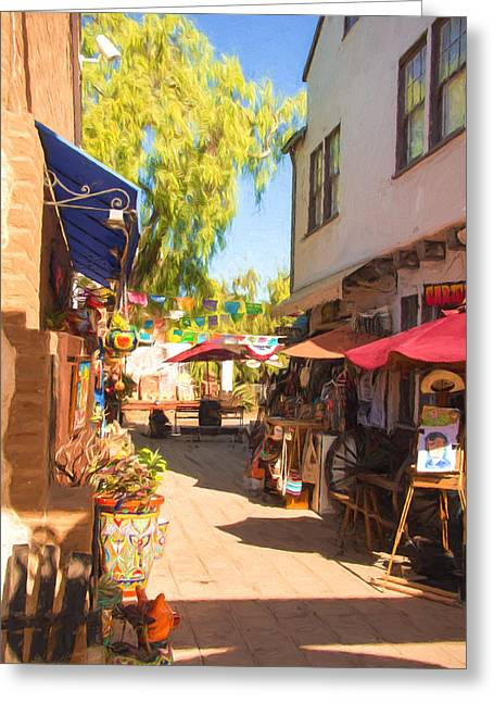 Impressionistic Market Greeting Cards - San Diego Old Town Walkway Greeting Card by JG Thompson