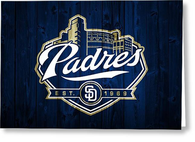 Pitcher Mixed Media Greeting Cards - San Diego Padres Barn Door Greeting Card by Dan Sproul