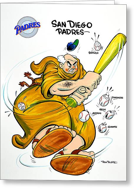 Baseball Art Greeting Cards - San Diego Padres Greeting Card by Ben De Soto