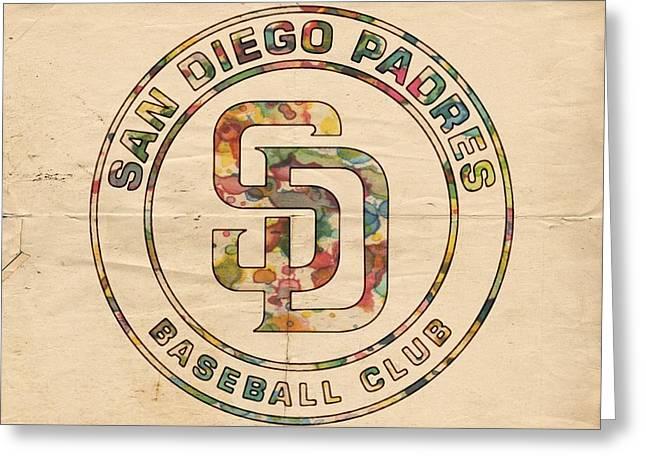 San Diego Padres Greeting Cards - San Diego Padres Logo Art Greeting Card by Florian Rodarte