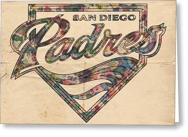San Diego Padres Greeting Cards - San Diego Padres Poster Vintage Greeting Card by Florian Rodarte