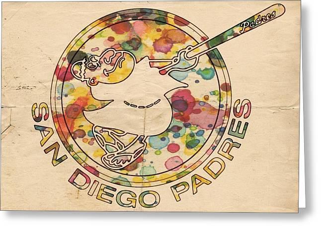 San Diego Padres Greeting Cards - San Diego Padres Vintage Art Greeting Card by Florian Rodarte