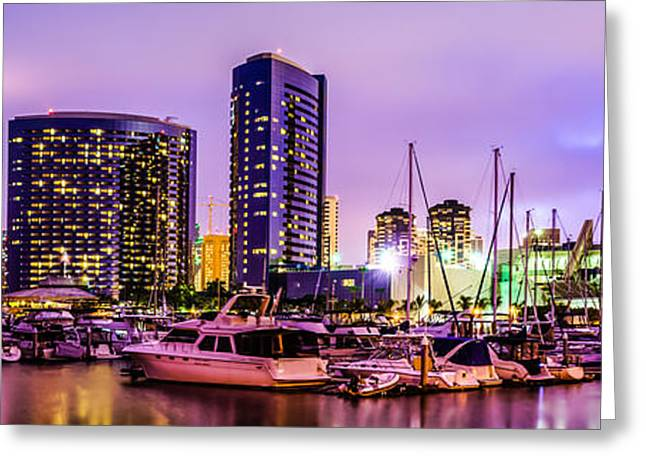 Marina Night Greeting Cards - San Diego Panorama Photography Greeting Card by Paul Velgos