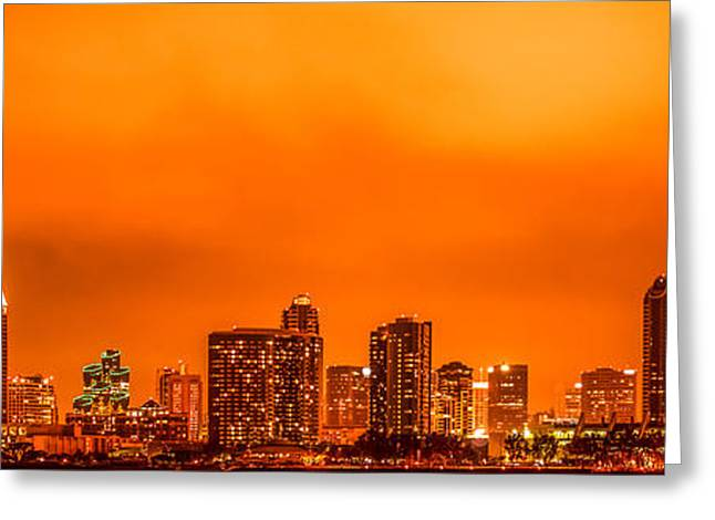 San Diego Bay Greeting Cards - San Diego Panoramic Picture Greeting Card by Paul Velgos