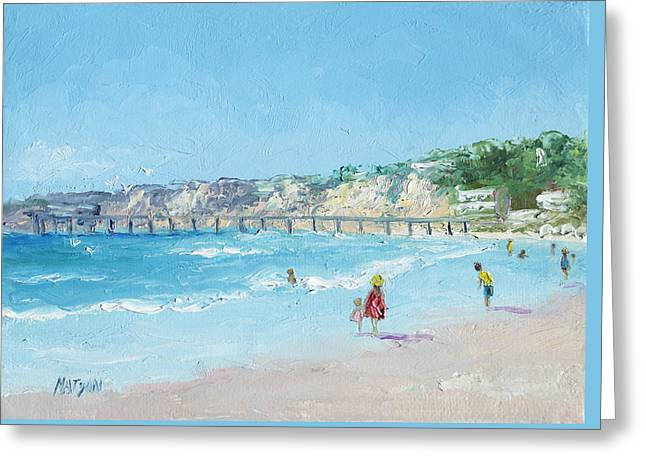 Park Scene Paintings Greeting Cards - San Diego Pier Greeting Card by Jan Matson
