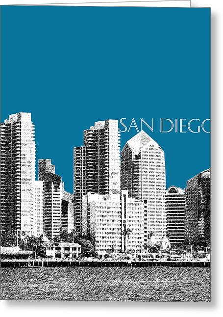 San Diego Skyline 1 - Steel Greeting Card by DB Artist