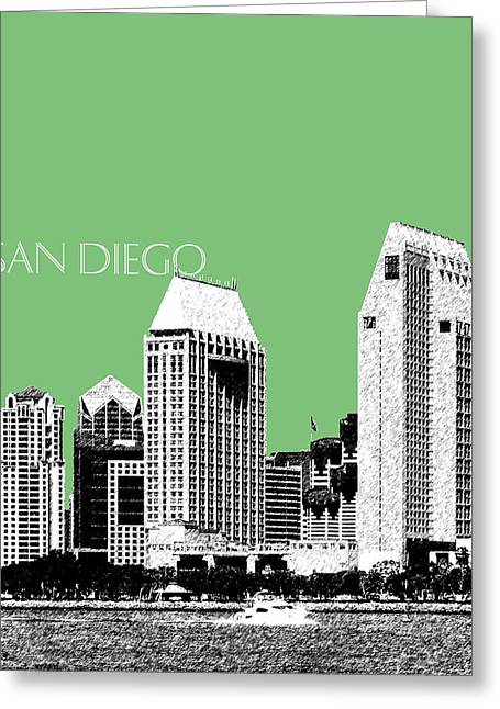 San Diego Skyline 2 - Apple Greeting Card by DB Artist