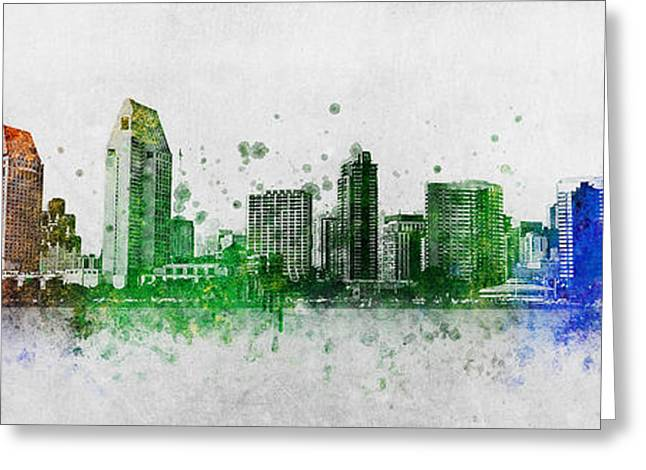 Balboa Park Greeting Cards - San Diego Skyline Greeting Card by Aged Pixel