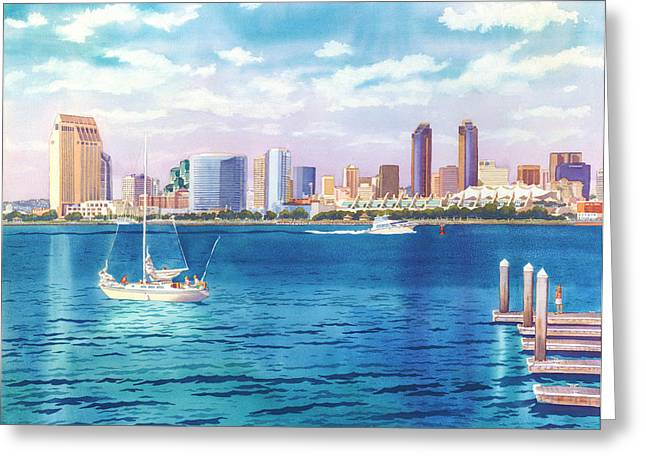 Skyline Paintings Greeting Cards - San Diego Skyline and Convention Ctr Greeting Card by Mary Helmreich